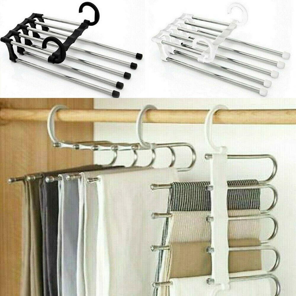 Multi-functional 5 In 1 Multi-functional Pants Rack Shelves Stainless Steel Wardrobe Magic Hanger