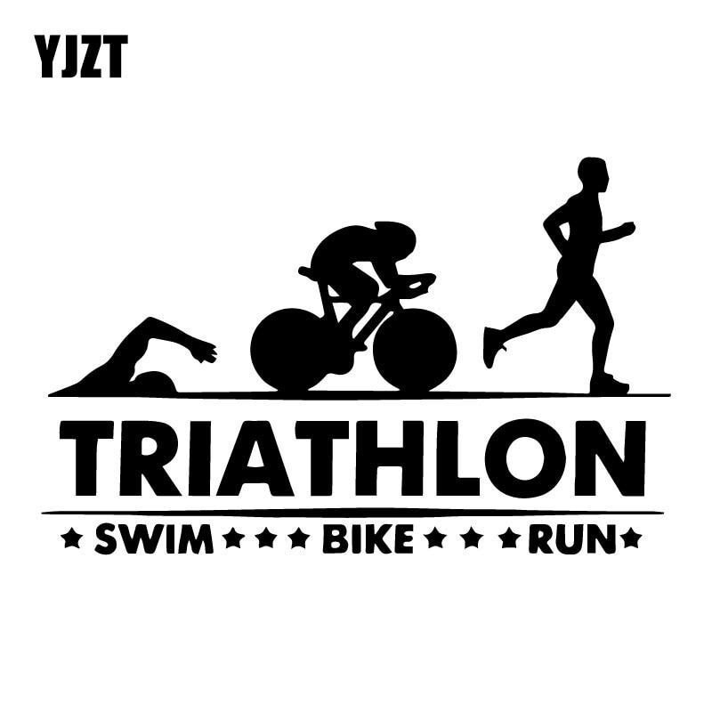 YJZT 17.5CM*11CM Triathlon Swim Bike Run Athlete Sport Car Stickers Car Trunk Decorate Accessories Vinyl Decal C31-0477