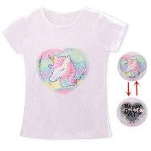 Футболка с единорогом для маленьких девочек топы, футболка для маленьких девочек футболки для крупных девочек детские летние хлопковые футболки с короткими рукавами для девочек возрастом от 3 до 8 лет