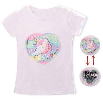 Baby Girl Unicorn t-shirt Tops Baby Girl T-shirt Big Girls Tee Shirts Children Girl 3-8 Years Summer Short Sleeves Cotton Tees