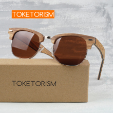 Toketorism wooden sunglasses men polarized birthday gift women vintage half frame wood 6303
