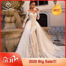 Sexy Meerjungfrau Hochzeit Kleid Abnehmbare Zug Swanskirt 2 in 1 Braut Kleid Schatz Appliques Langarm vestido de noiva LZ06
