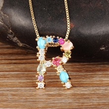 Nidin Fashion Colorful Initial Letter Necklace Multicolor Rainbow Gold Pendant Necklace for Women Girls Wedding Birthday Gifts