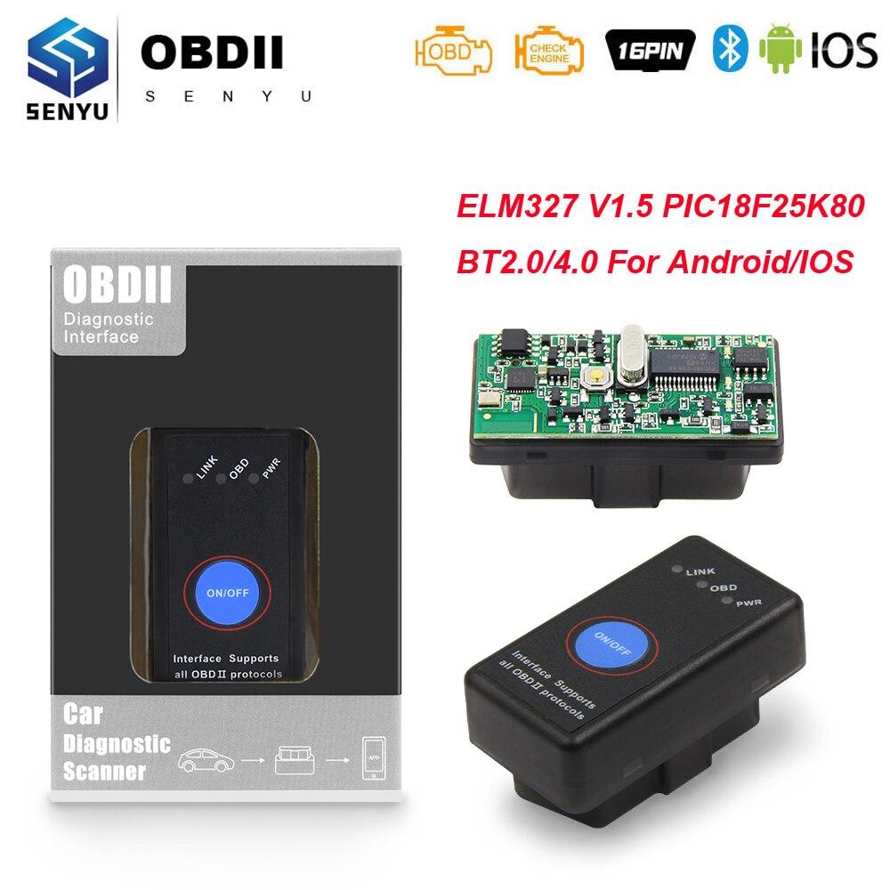 Автомобильный диагностический сканер ELM 327 в 1 5 с PIC18F25K80 obd2 Bluetooth 4,0 ODB2 для Android/IOS ELM327 V1.5 OBD 2 OBD2