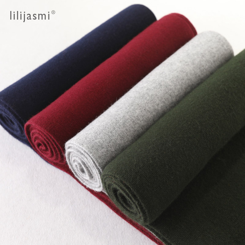 Thick Solid Color Cashmere Wool Blend Knit Scarf 180*30cm Unisex Women Scarves Long Wool Solid Winter Men Scarf Couples