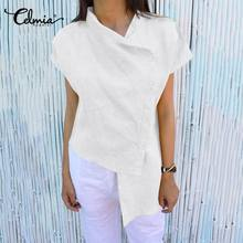 Women's Blouses Shirts Tops Short-Sleeve Celmia Buttons Blusas Vintage Linen Loose Casual