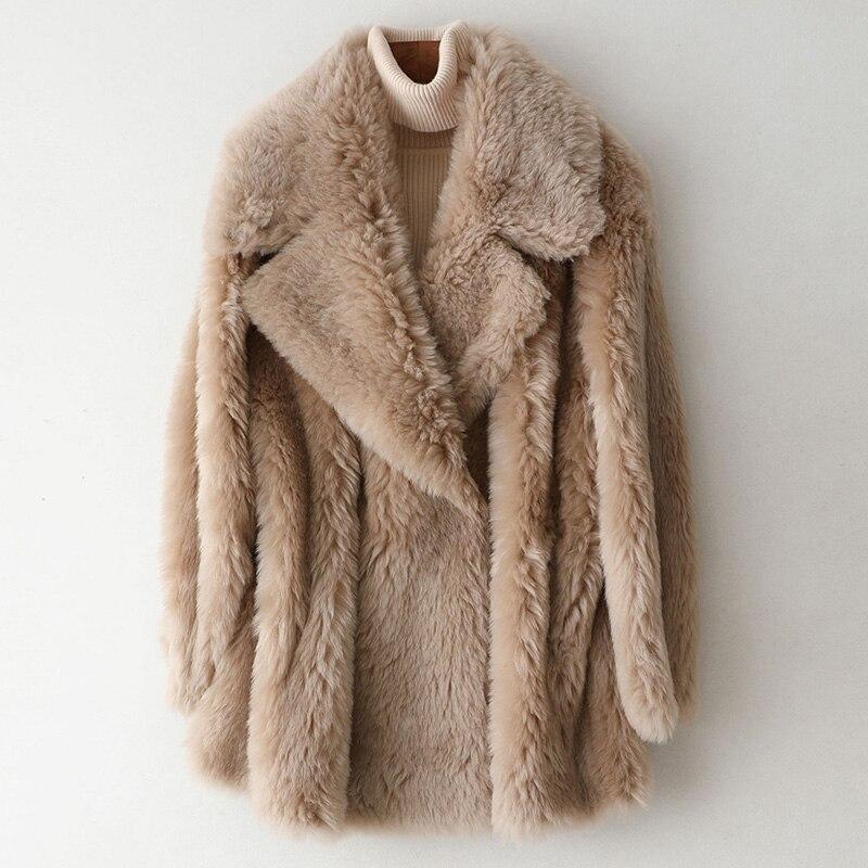 Real Fur Coat Autumn Winter Coat Female 100% Wool Jacket Women Clothes 2019 Korean Vintage Sheep Shearling Fur Tops ZT4130