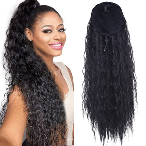 24inch Long DrawstringPonytail Wig For Women Synthetic Corn Wave Clip in Hairpiece Wrap Around Pony Tail Hair Extension(China)