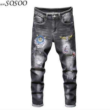 New Men Jeans 100% Cotton Classic Patches Eagle Wings Trousers Cool Top Quality Fashion Free shipping #2038