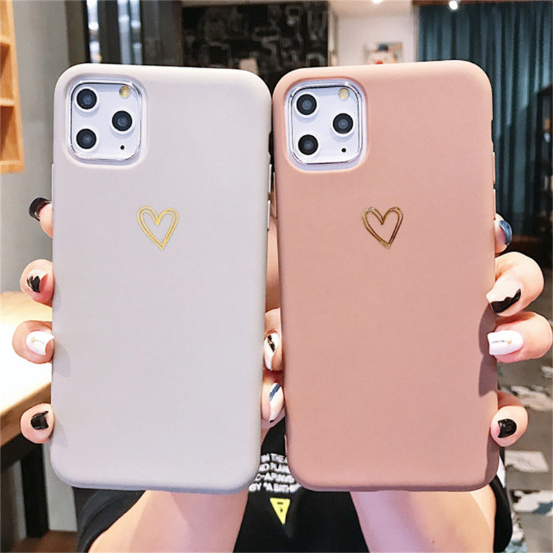 Gold Line Love Heart Case For Iphone 6 6S 7 8 Plus 11 Pro X XR XS Max Simple Candy Color Phone Cases Soft TPU Back Cover