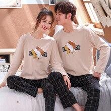 Wontive Men pyjamas suit autumn Plaid pants Couple pajamas Long sleeve pijama for male clothing Cotton casual nightie sleepwear