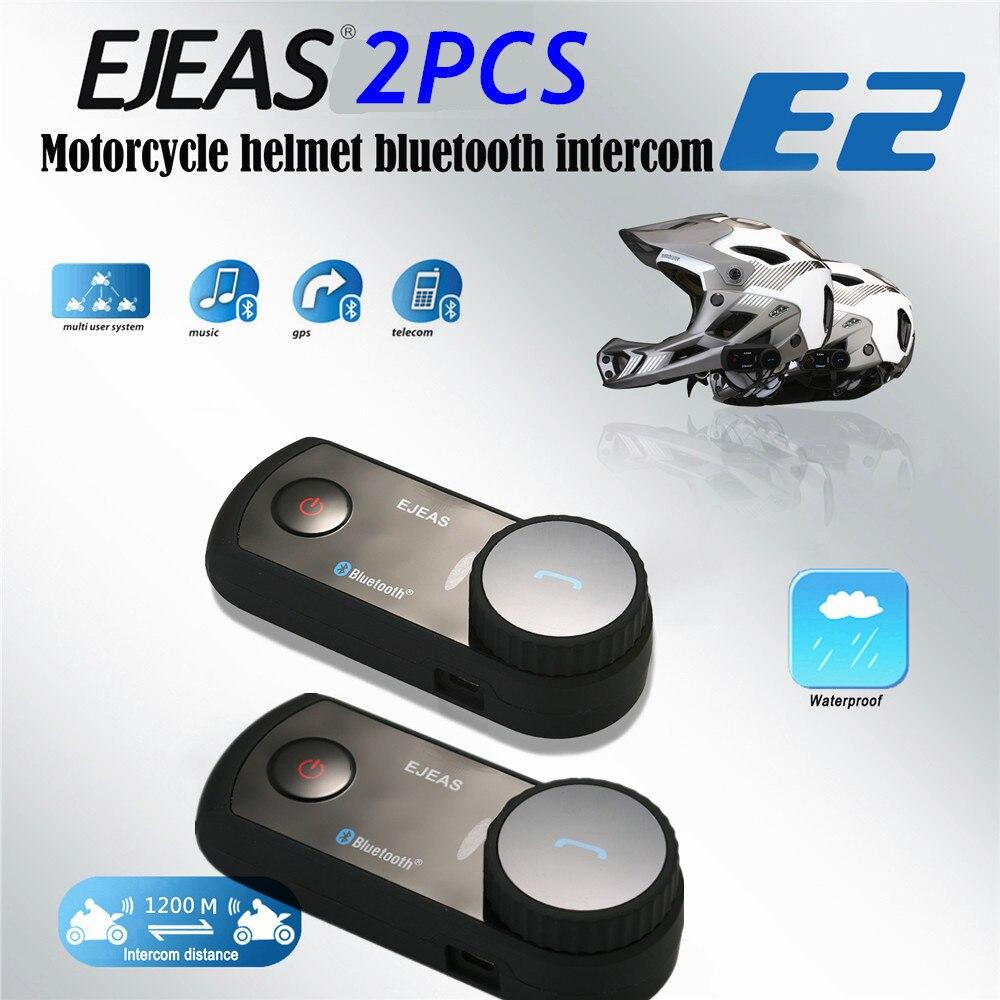 2PCS Motorcycle Helmet Intercom VOX Bluetooth Interphone 1200m Wireless Motorcycle Helmet Headsets Waterproof Intercomunicador