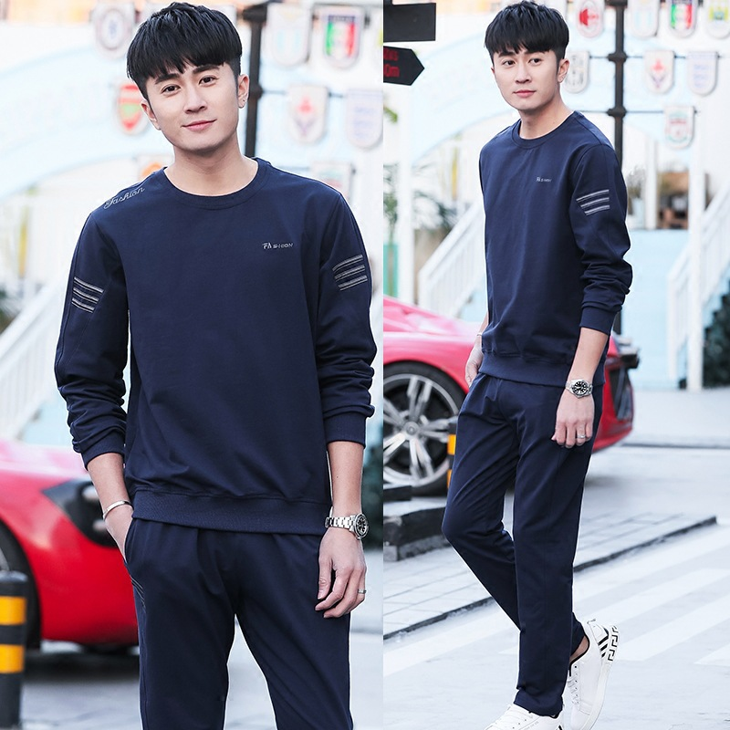 Spring And Autumn Men And Women Sports Set Pure Cotton Long Sleeve Running COUPLE'S Men's Casual Three Lever Sports Clothing