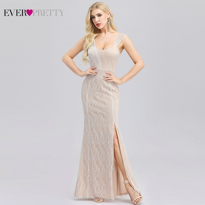 Sexy Cream Evening Dresses Ever Pretty Side Split Spaghetti Straps V-Neck Sleeveless Mermaid Evening Gowns Robe De Soiree 2020