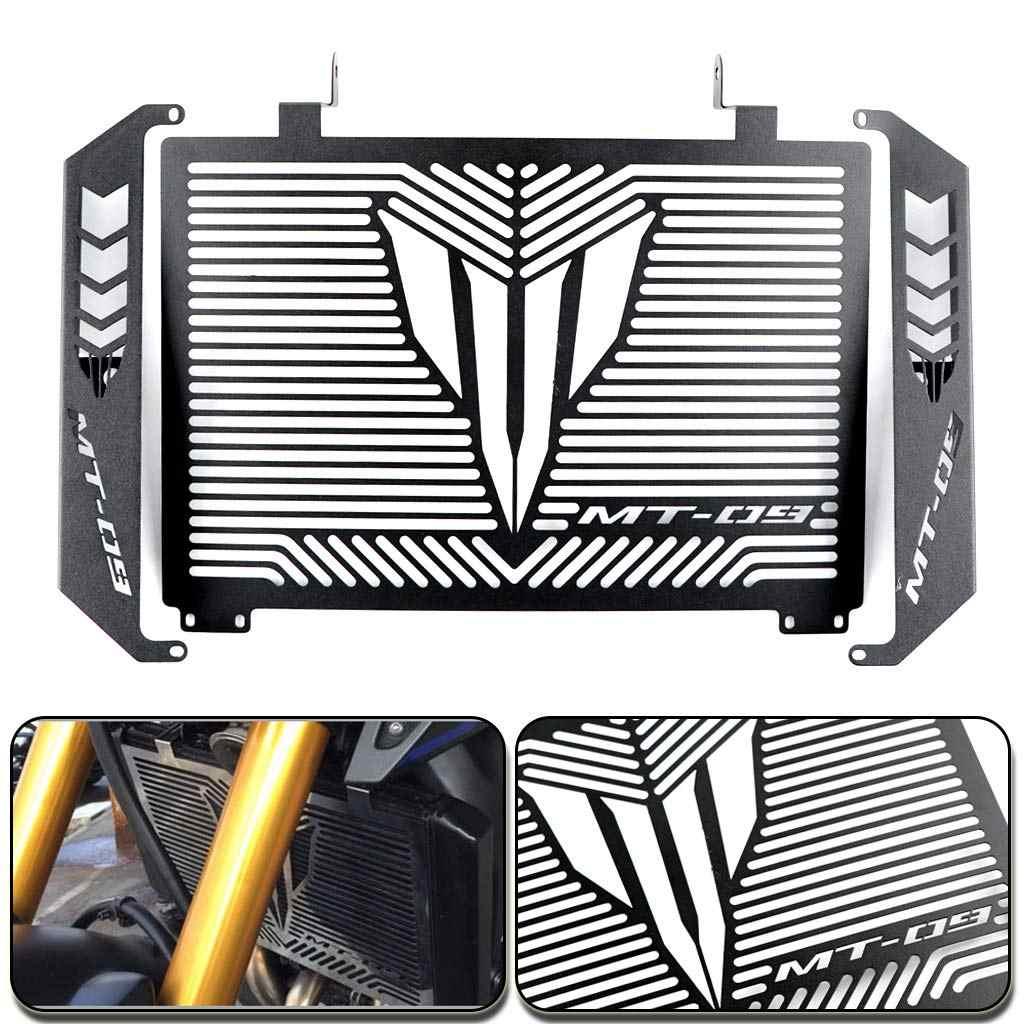 Cubierta protectora de la parrilla del radiador del acero inoxidable de la motocicleta + cubierta protectora lateral adecuada para Yamaha MT09 MT 09 MT-09 F