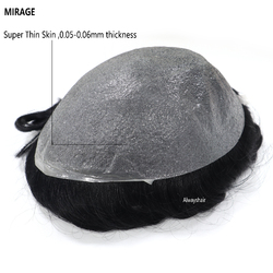 Clearance Sale Old Stocks Mirage Men Wig 0.05-0.06mm Super Thin Skin Toupee Best Indian Human Hair Quality Hair Patch for Men