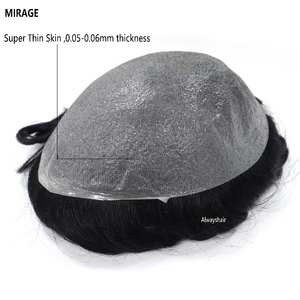 Clearance Sale Old Stocks Mirage Wig 0.05-0.06mm Super Thin Skin Hair Replacement Indian Human Hair Men Toupee(China)