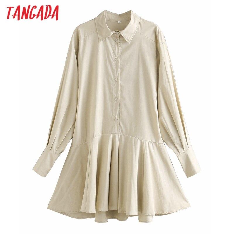 Tangada-Vestido camisero liso de manga larga, primavera 2021, para mujer, suelto, 3R3