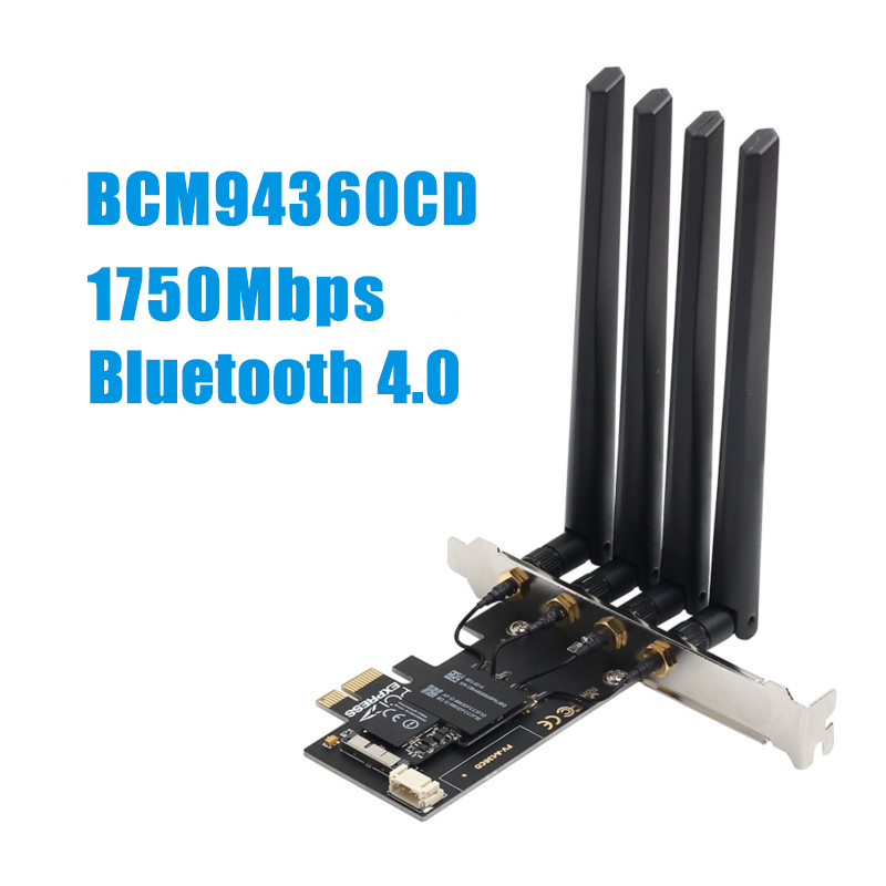 1750Mbps PCIe Desktop Wifi Card BCM94360CD Hackintosh macOS 802.11ac Bluetooth 4.0 Dual Band Wireless Adapter AirPort Handoff(China)