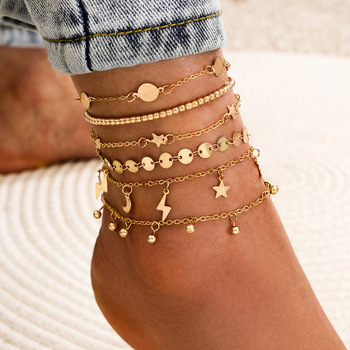 6 Pcs/set Bohemia Multilayer Beads Anklet Set Fashion Ankle Bracelets for Women Summer Beach Foot Jewelry Leg Chain Anklets image