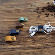 2 sztuk podróży akcesoria skórzane przewód słuchawkowy przewód usb organizator do przewijania klipsy do przechowywania drutu słuchawki przewód myszy tanie tanio Velishy Cable winder