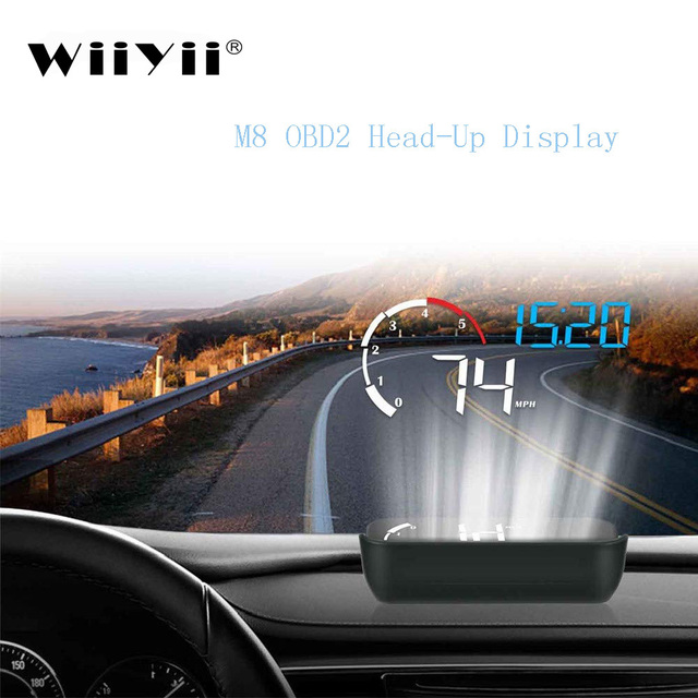 Wiiyii m10 obd2 hud head up display carro estilo de exibição overspeed aviso brisa projetor sistema de alarme universal projetor