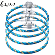 CUTEECO New Blue Color Stripe Charm Bracelet For Women Classic Snake Chain Bracelets Bangles Fashion Jewelry Dropshipping