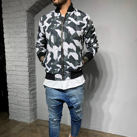 2019 New style Men Camouflage sport jacket Gyms Fitness Bodybuilding zipper coat Autumn casual fashion joker tide brand clothing Lahore