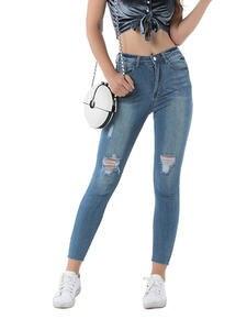 GECKATTE Mom Jeans Elastic-Pants Boyfriend Distressed High-Waist Women Skinny Denim Woman