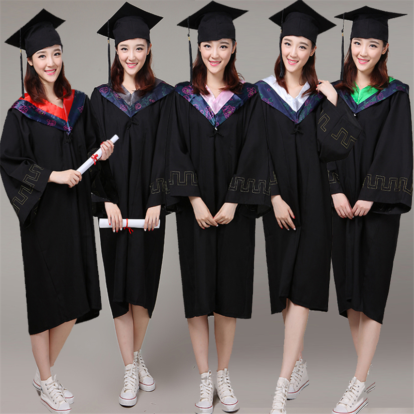 6color University Graduatation Dress Elgant High Quality Long Sleeve Robe  Academic Dresses For Adult Bachelor High School Sets