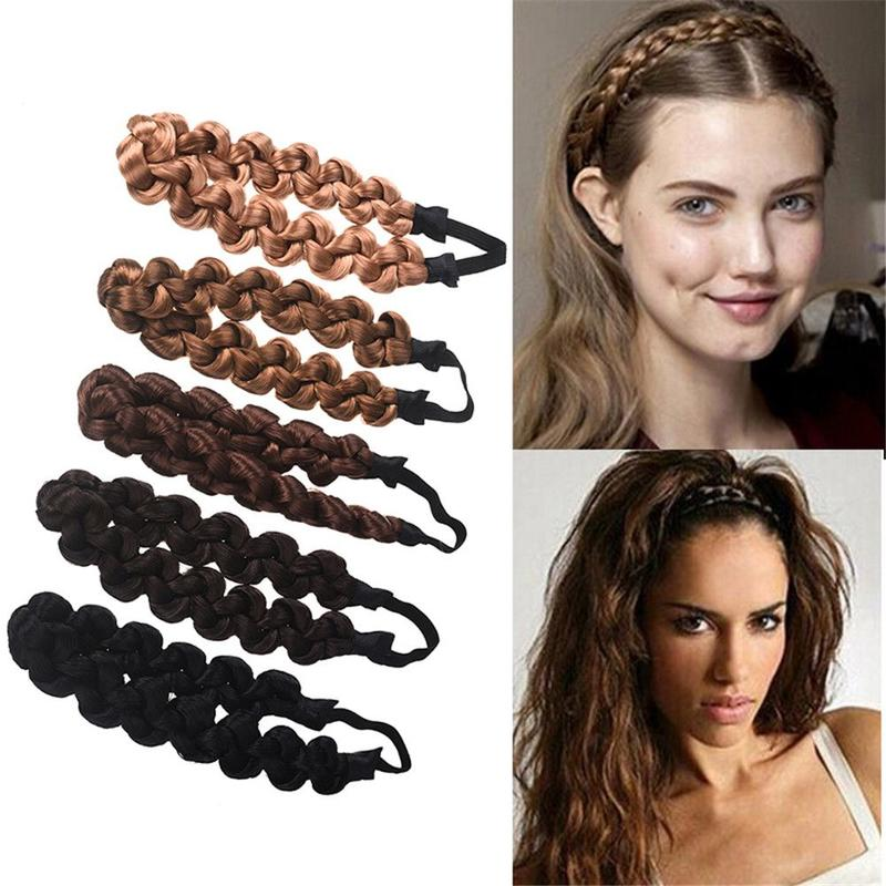 New Fashion Synthetic Wig Twist Hair Bands Fashion Braids Hair Accessories Women Bohemian Plait Elastic Headband Stretch Bandana