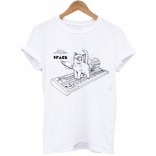 Fashion Trend White T-Shirt Women's Tops Casual Short Sleeve T-Shirt Cat Print Pattern Round Neck T-Shirt Males цена 2017