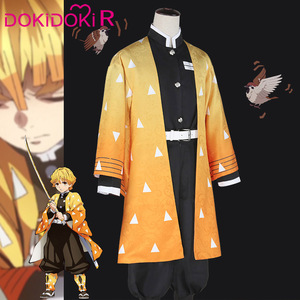 Image 2 - Dokidoki r Anime Cosplay Demon Slayer: Kimetsu no Yaiba Agatsuma Zenitsu kostium mężczyźni Kimono przebranie na karnawał Kimetsu no Yaiba