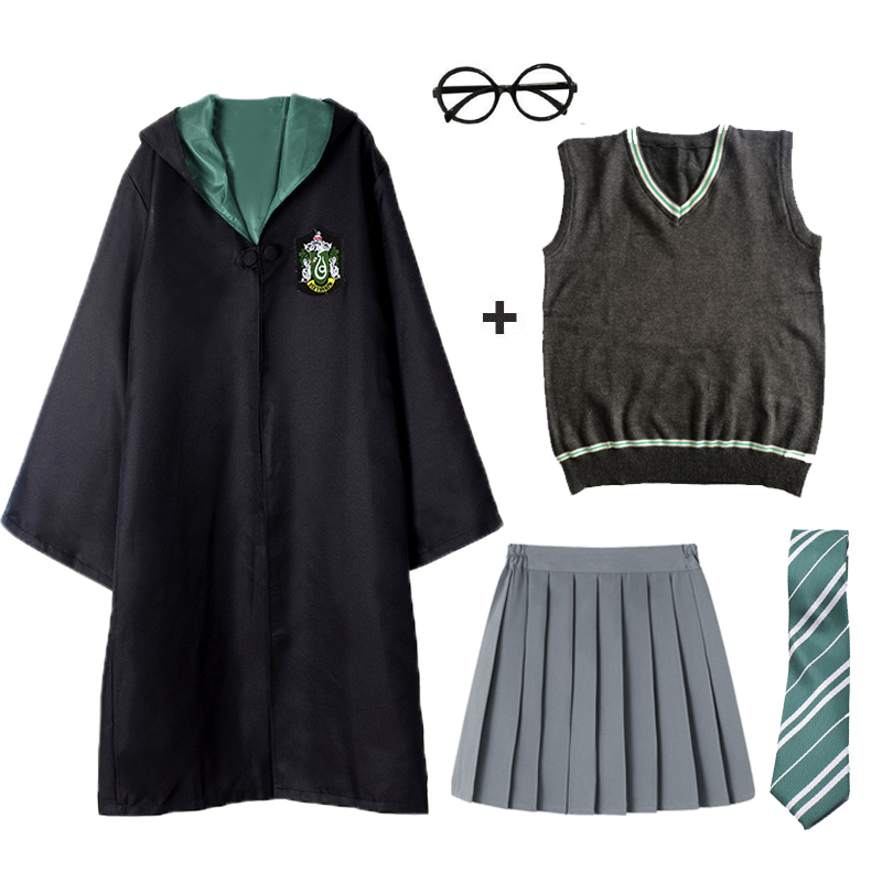 Gryffindor Robe Hermione Granger Cosplay Costume Girls Halloween Hogwarts Wizard For Potter Cape Sweater Suit Adult Kids D-38