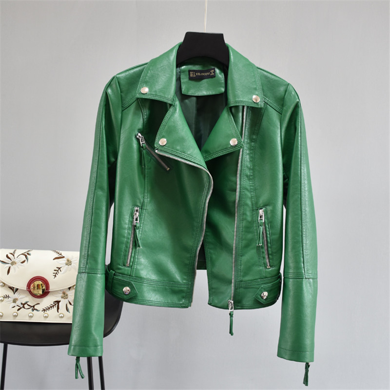 2019 New Women Soft Motorcycle Faux   Leather   Jackets Ladies Long Sleeve Autumn Winter Basic Street Black Green Yellow Red Coat