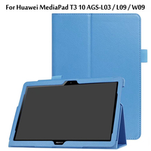 Ultra Thin Litchi Stand PU Leather Protector Sleeve Case Skin Cover For Huawei MediaPad T3 10 AGS-L09 AGS-L03 9.6 inch Tablet eagwell 360 rotating case for huawei mediapad t3 10 9 6 litchi pu leather flip stand tablet cover skin for huawei t3 10 case