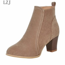 Women Ankle Boot 2019 Fashion Suede Leather Boots High Heel Ladies Shoe