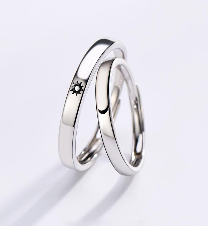 Модное простое Открытое кольцо с Луной и солнцем, минималистичное серебряное регулируемое кольцо с Луной и солнцем для мужчин и женщин, обр...