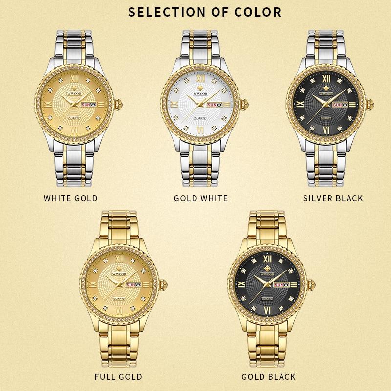 WWOOR парные часы пара для мужчин и женщин модные кварцевые часы из нержавеющей стали с бриллиантами часы для влюбленных Пара водонепроницаемых часов