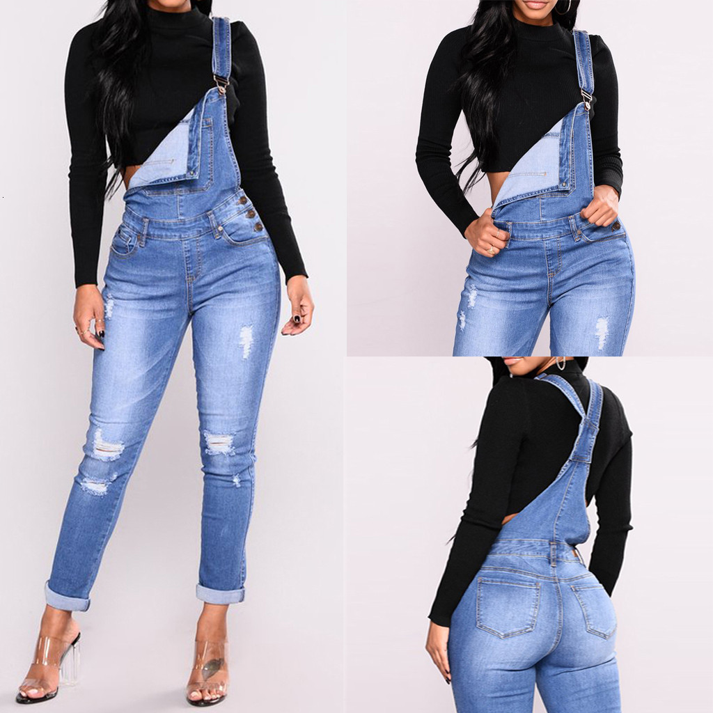 Fashion Overalls For Women Denim Rompers Ladies Jumpsuit Jeans Hole Women's With Holes In Their Straps Tight Calf Streetwear