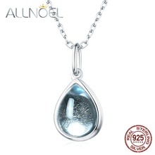 ALLNOEL Solid 925 Sterling Silver Women Gemstone Pendant Necklace 100% Natural Topaz Rose Quartz Garnet Waterdrop Choker Chain