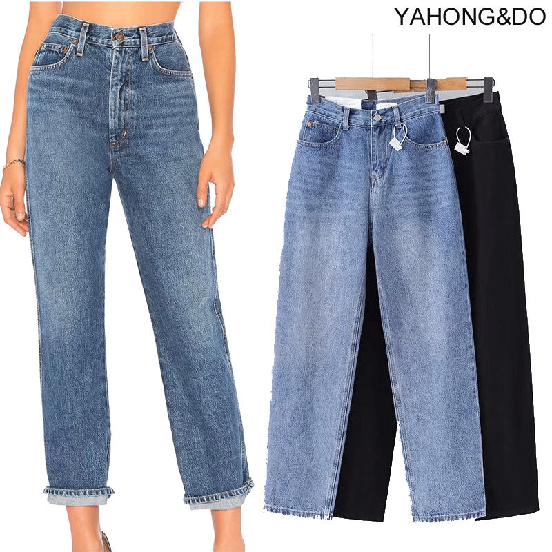 ZA 2019 New Loose Straight Jeans Pants Vintage High Waist Blue Jeans New Autumn Femme Ankle Length Denim Black Jeans