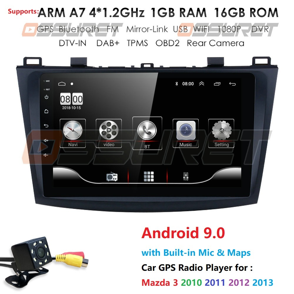 Car Multimedia Radio Player For <font><b>Mazda</b></font> <font><b>3</b></font> Mazda3 2004-2013 Android 9 <font><b>Navigation</b></font> Autoradio Tape Recorder <font><b>GPS</b></font> Video Stereo dvr dtv image