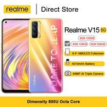 Realme-teléfono inteligente V15, 5G, pantalla FHD de 6,4 pulgadas, dimensiones 800U, ocho núcleos, cámara trasera de 64MP, 50W, Cargador rápido, 4310mAh, Android 10