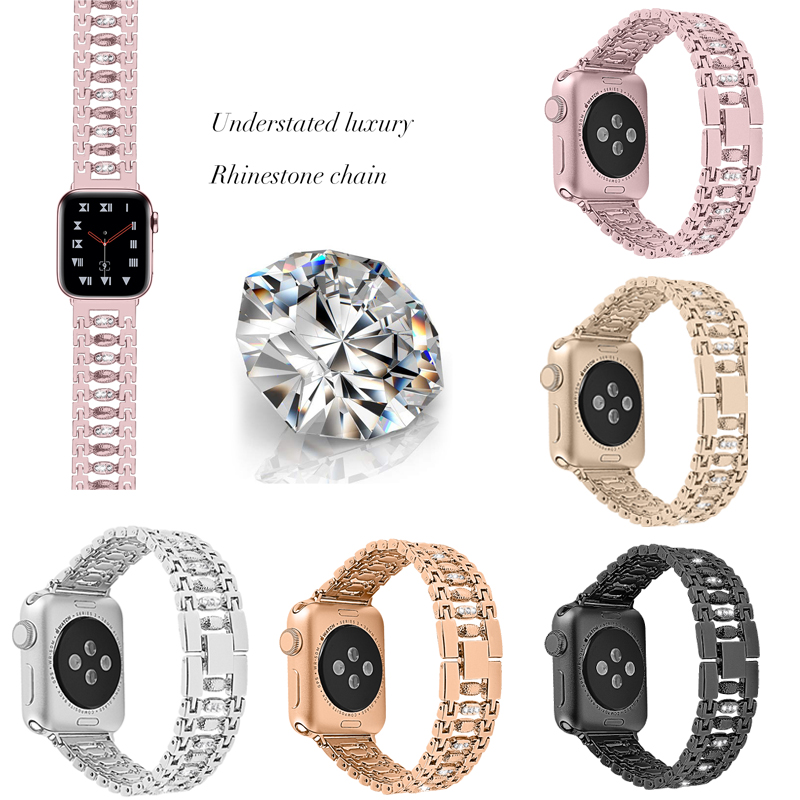 Stainless Steel Women bling for apple watch band 38mm/40mm/42mm/44mm Bracelet Adjustable Strap for apple watch5/ 4/3/2/1 band image