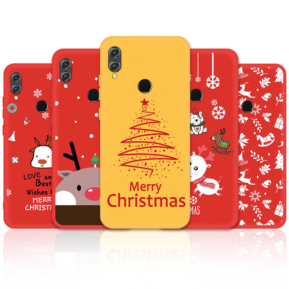 Silicone Pattern Case For Huawei Honor 8X 9X 10 20 Lite Red Merry Christmas Shell For Huawei P20 P30 Lite Case Soft TPU Cover