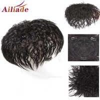 AILIADE-Peluca de cabello humano Real para mujer, de Color Natural, Base de red de pelo transpirable con flequillo, peluquín de pelo con Clip