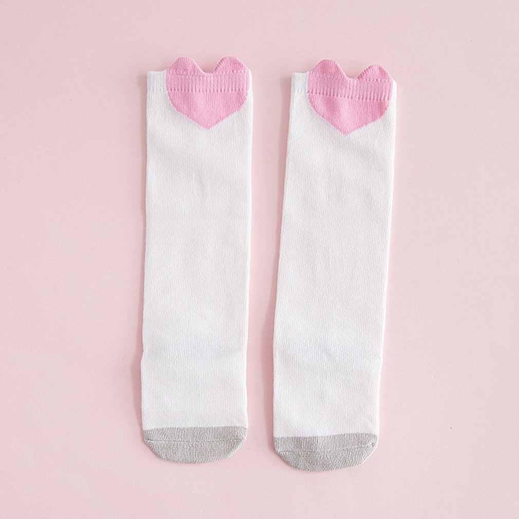 1 par de calcetines bonitos de dibujos animados para bebé, medias cómodas de algodón suaves, Calcetines antideslizantes a la rodilla para niñas y niños pequeños, calcetines gruesos cálidos de invierno de 0 a 3 años