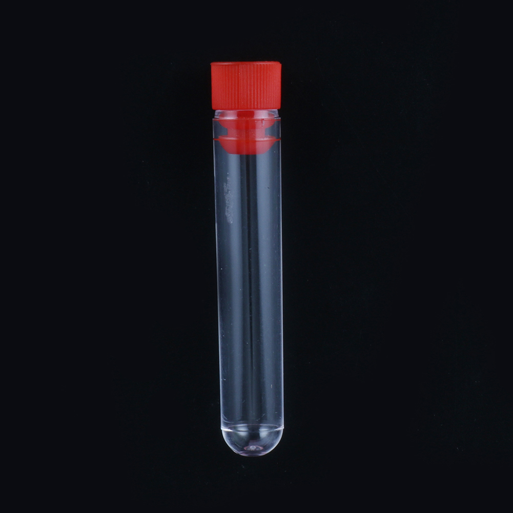 Hard Plastic Test Tube With Plug Cap 12x60mm Transparent Round Bottom Vial Container Laboratory Experiment Supplies 5 Pcs