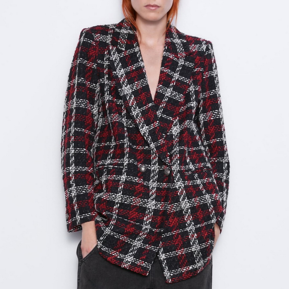 Elegant Single Breasted Women Plaid Tweed Blazer Jackets Autumn Notched Long Sleeve Pockets Office Lady Formal Suit Coats Casual